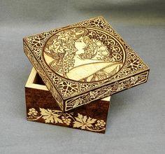 Free shipping wood burned box Art Nouveau wooden box jewelry