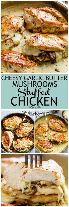 Cheesy Garlic Butter Mushroom Stuffed Chicken – Cafe Delites Chicken stuffed with mushrooms and butter with garlic – Café Delites Turkey Recipes, Meat Recipes, Dinner Recipes, Cooking Recipes, Healthy Recipes, Easy Cooking, Zoodle Recipes, Sirloin Recipes, Beef Sirloin