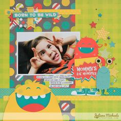BoBunny's Our Lil' Monster Scrapbook Page #bobunny #scrapbookpage