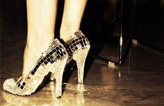 glittering gold heels