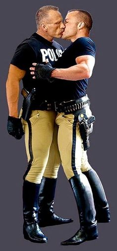 Handsome, muscular, virile cops in figure hugging uniforms and shiny black leather boots, thoroughly appreciating their testosterone charged working environment. This makes kissing look as much as a man thing as wrestling or biking.