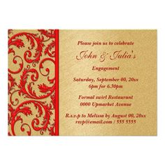 Red gold swirl engagement anniversary PERSONALIZE Personalized Invites