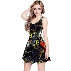 Floral collage alloverprint sleevelessdress in mixed colors and black designed by #dflcprints and produced by #cowcow