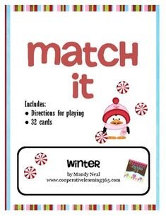 FREE--Match-It Winter.. Holidays/Seasonal, Christmas/ Chanukah/ Kwanzaa, Winter  3rd, 4th, 5th   Printables, Cooperative Learning... Match it is similar to playing memory but it gets students up, moving around and working with classmates.