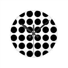 Black Polka Dots Clock