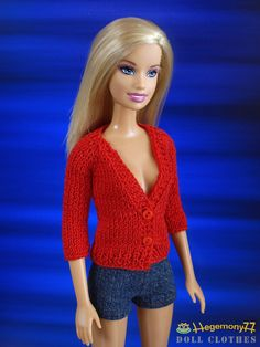https://flic.kr/p/a5eugY | Barbie doll in hand knitted red cardigan | (made be…