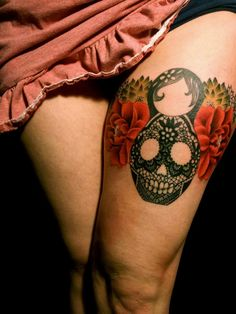 LHeure Bleue Tattoo by Dodie: Flower, sugar skull, lace, Russian Nesting Doll tattoo, thigh tattoo