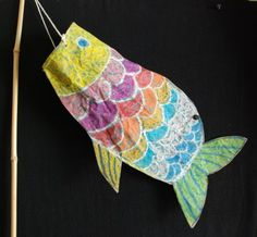 """From That Artist Woman's website: """"Koinobori"""" windsocks. A great project to addd to my oriental art u it for next year!"""