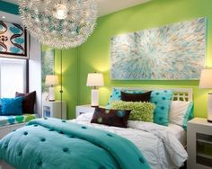 teen girl bedroom decor bright green wall modern chandelier wall painting…