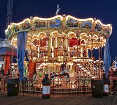 Carousel on Moreys Pier lit for the night riders. Wildwood Boardwalk. Carousel at Night - photo by nfin10, via Flickr