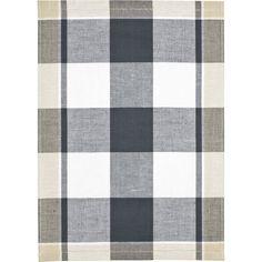Kracht Geschirrtuch Landhaus in 3 sizes check.  50% linen/50% cotton.  Black/tan.