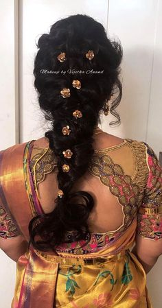Indian bridal hair. Loose fishtail braid. Hair accessories. Hairstyle by Vejetha for Swank. Saree blouse design.