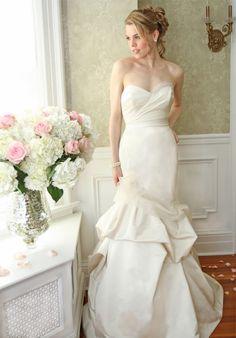 satin elongated torso gown