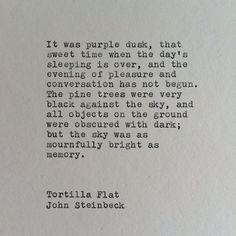 John Steinbeck Tortilla Flat Typewriter Quote / by WhiteCellarDoor, $11.00