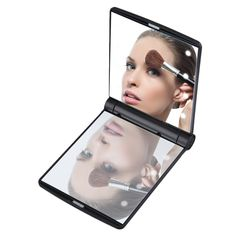 Skin Care Tools Makeup Mirrors 1pcs Women Foldable Makeup Mirrors Lady Cosmetic Hand Folding Portable Compact Pocket Mirror 8 Led Lights Lamps Drop Shipping Refreshing And Beneficial To The Eyes