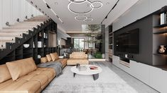 Living Room Inspiration, Modern House Design, Villa, Stairs, Behance, Architecture, Table, Furniture, Home Decor