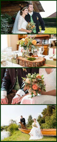 Impressionen einer Trachtenhochzeit - Heiraten im Dirndl mit besonderem Charme - schönes Brautdirndl - Tischdekoration - Brautstrauß