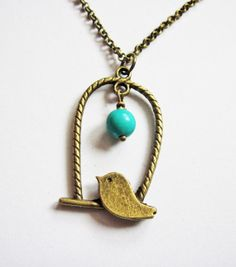 bird necklace bird cage necklace bird jewelry by RobertaValle, $16.00