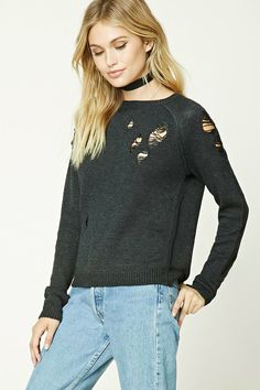 Forever 21 Contemporary - A wool-blend ribbed knit sweater featuring a distressed design, round neckline, and long raglan sleeves.