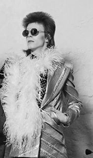david bowie outfit looking cool as ever- feather boa with chic blazer and sunnies! Mood forever