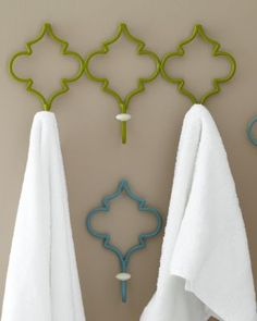 Château Wall Hooks available in single hooks or triple from garnet hill. These hooks also come in green and turquoise to brighten any bathroom, or entryway. Bath Accessories, Decorative Accessories, Bath Girls, Kids Bath, Shops, Wall Hooks, Wall Shelves, Quatrefoil, Guest Bath
