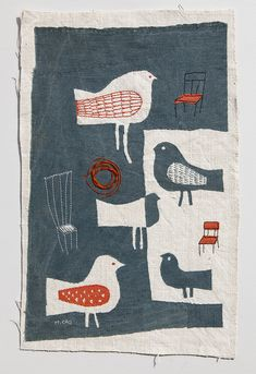 Embroidery by Mika Hirasa Embroidery Art, Embroidery Stitches, Machine Embroidery, Fabric Art, Fabric Crafts, Vogel Quilt, Motif Art Deco, Bird Quilt, Quilt Modernen