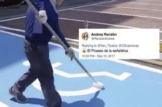 La gente está flipando con el vídeo de un operario pintando una señal de aparcamiento para discapacitados