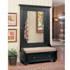 built in hall tree storage plans Entryway Hall Tree Bench, Hall Tree Storage Bench, Entry Bench, Storage Mirror, Door Bench, Entryway Storage, Bench Seat, Shoe Storage, Hall Tree With Mirror