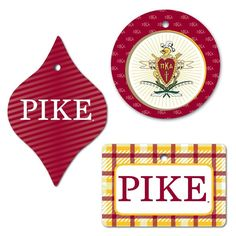 Pi Kappa Alpha Ornament - Set of 3 Shapes; Circle, Rectangle, and