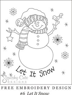 Free printable embroidery patterns - hand embroidery designs - snowman, Christmas