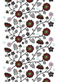 Aprilli by Tanja Orsjoki - Vallila Interior Curtain Fabric, Curtains, Haberdashery Shop, Fabulous Fabrics, Spring Collection, Fabric Design, Upholstery, Stitch, Pattern