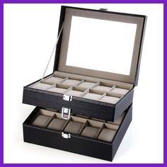 PU Leather 20 Grids Watch Display Case Box Jewelry Storage Organizer, Elegant Watch box gifts Organizer caja reloj