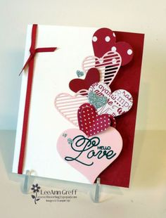 Here's a fun Valentine's card idea. If you have heart punches or dies you could make this cute card too. I used our Love Notes Framelit dies and the Sweet & Sassy framelits for these cute hearts. Valentine Love Cards, Valentines Diy, Anniversary Cards, Happy Anniversary, Creative Cards, Greeting Cards Handmade, Scrapbook Cards, Homemade Cards, Stampin Up Cards