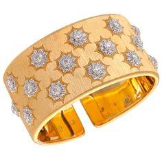 {Buccellati Diamond Gold Cuff Bracelet}