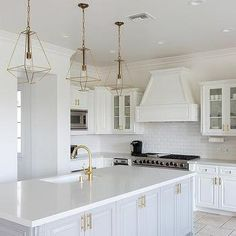 Gray and White Kitchen with Beveled Subway Tiles