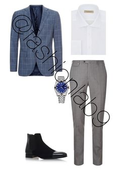 """Untitled #2092"" by fashionlab9 on Polyvore featuring Corneliani, Burberry, Harrods, Stemar, Rolex, men's fashion and menswear"
