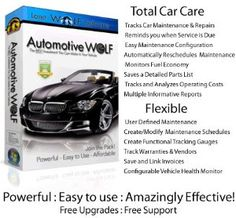 Automotive Wolf Car Care Software Superb Vehicle Software for every car owner. Manages your car maintenance schedule, monitors fuel efficiency and expenses and saves a detailed vehicle maintenance log book for each vehicle. This car software will actually save you money by helping you to avoid repairs.