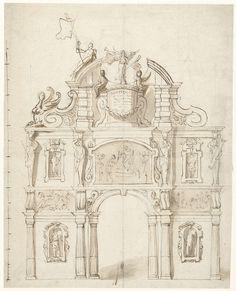 Theodoor van Thulden | Ontwerp voor een ereboog voor aartshertog Leopold Willem, Theodoor van Thulden, Erasmus Quellinus (II), 1646 - 1648 | Ontwerp voor een triomfboog.
