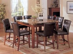 Acme Furniture Bologna Collection 9 PC Bar Table Set with Square Shaped Counter Height Table and 8 PU Leather Upholstered Counter Height Chairs in Brown Cherry Finish Small Square Dining Table, Marble Top Dining Table, Dining Table Design, Dining Room Table, A Table, Table Stools, Dining Rooms, Square Kitchen, Granite Kitchen Table