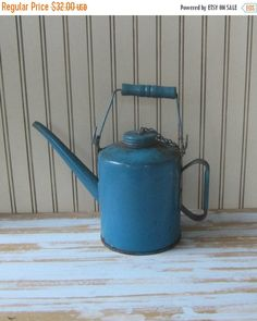 ON SALE Blue Vintage Oil Can Kerosene Can Industrial Decor Antique Gas Can Garden Decor Antique Railroad Oil Can 1 Qt Quart Chippy Rusty Pet (27.20 USD) by VintageSouthernPicks