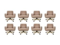 Set of Eight Conference Chairs on Casters Black And White Chair, White Chairs, Black White, Conference Room Chairs, Small Living Room Chairs, Leather Chair With Ottoman, Dining Table Chairs, Desk Chairs, Office Chairs