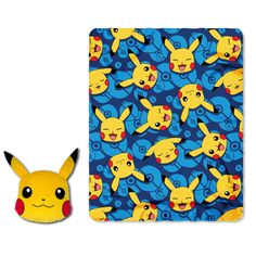 "Pokemon, ""Choose Pika"" Big Face Character Pillow and Fleece Throw Set Personalized by CACBaskets on Etsy"