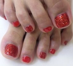 Nails, red, uñas pies pedicure