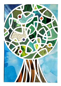 """""""Doctrine of Law"""" papercut by Isaac Brynjegard-Bialik. The role of Torah – the """"tree of life"""" – in our lives, in the past and present. I see Torah as a living document, one that must be read and reread and continuously interpreted and understood for each generation."""