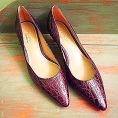 Beautiful purplish brown faux alligator pumps These Talbots pumps are real leather in a gorgeous shade of purplish brown with a faux alligator print.  They are in excellent condition - size 10. Talbots Shoes Heels
