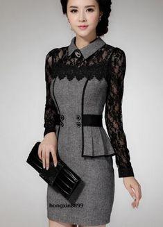 $31.00USD love this! New-Womens-fashion-retro-Slim-stitching-lace-flower-dress-Casual-lapel-dresses
