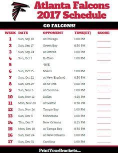 2017 Atlanta Falcons Football Schedule