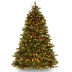 """7.5-foot """"Feel Real"""" White Pine Hinged Tree with 550 Clear Lights   Overstock™ Shopping - Great Deals on Seasonal Decor"""