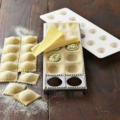 I've made ravioli without and it's not terribly difficult, but this might cut down on some time and energy in the long run Cooking Gadgets, Cooking Tools, Butternut Squash Ravioli, Pasta Casera, Cool Kitchen Gadgets, Quick Easy Meals, Pasta Recipes, Food And Drink, Italian Recipes
