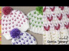 """Gorros en punto """"jersey"""" imitación 2 agujas a CROCHET (waistcoat o knit stitch) - Tejiendo Perú - YouTube"""
